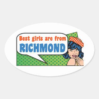 Adesivo Oval As melhores meninas são de Richmond