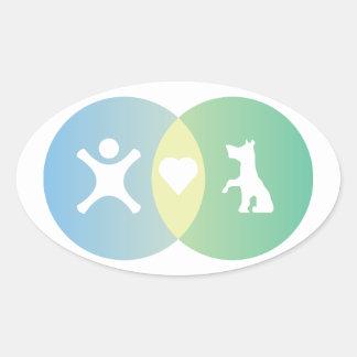 Adesivo Oval As pessoas do coração perseguem o diagrama de Venn