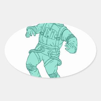 Adesivo Oval Astronauta que flutua no desenho do espaço