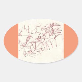 Adesivo Oval Ataque da arte