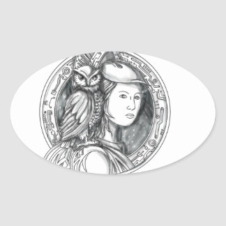 Adesivo Oval Athena com a coruja no Cir do circuito eletrônico