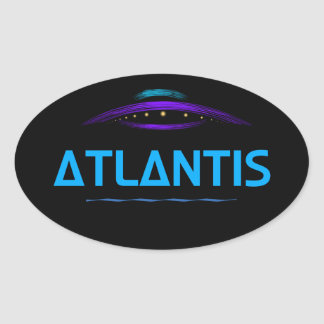 Adesivo Oval Atlantis, impressão mostra um esboço bonito do UFO
