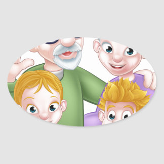 Adesivo Oval Avós e netos dos desenhos animados