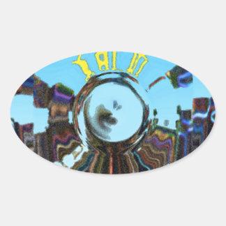 Adesivo Oval Azul abstrato