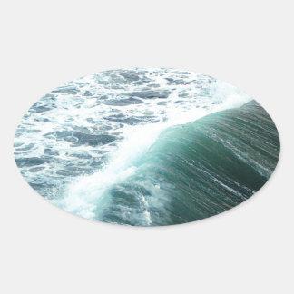 Adesivo Oval Azul de Oceano Pacífico