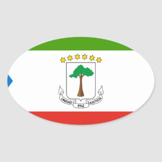 Adesivo Oval Baixo custo! Bandeira da Guiné Equatorial