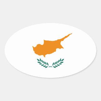 Adesivo Oval Baixo custo! Bandeira de Chipre