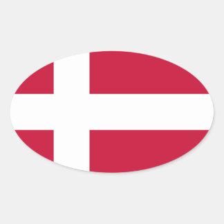 Adesivo Oval Baixo custo! Bandeira de Dinamarca