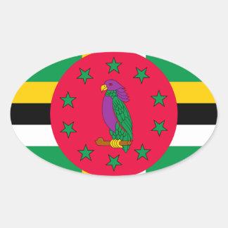 Adesivo Oval Baixo custo! Bandeira de Dominica