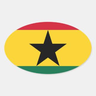 Adesivo Oval Baixo custo! Bandeira de Ghana