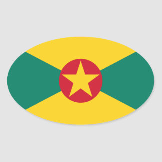 Adesivo Oval Baixo custo! Bandeira de Grenada