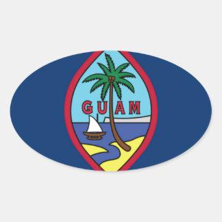 Adesivo Oval Baixo custo! Bandeira de Guam