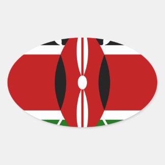 Adesivo Oval Baixo custo! Bandeira de Kenya