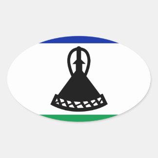 Adesivo Oval Baixo custo! Bandeira de Lesotho