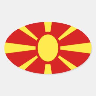 Adesivo Oval Baixo custo! Bandeira de Macedónia