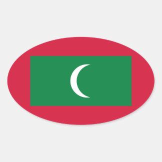 Adesivo Oval Baixo custo! Bandeira de Maldives