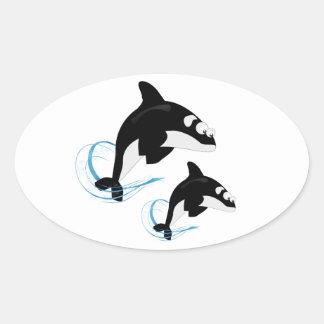 Adesivo Oval baleias
