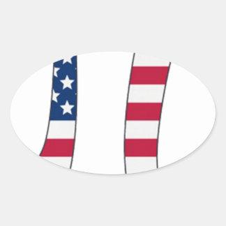 Adesivo Oval Bandeira americana do dia do Pi, símbolo do pi