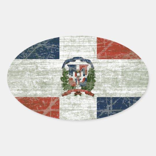 ADESIVO OVAL BANDEIRA DA REPÚBLICA DOMINICANA