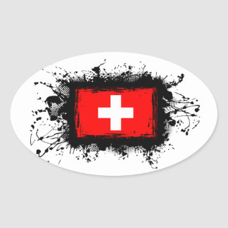 Adesivo Oval Bandeira da suiça