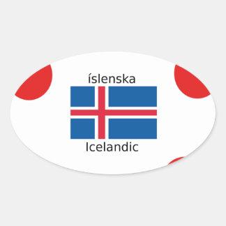 Adesivo Oval Bandeira de Islândia e design islandês da língua