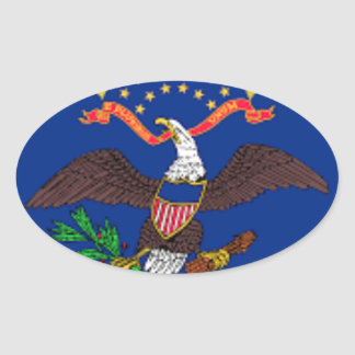 Adesivo Oval Bandeira de North Dakota
