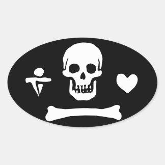 Adesivo Oval Bandeira de pirata da capota de Stede