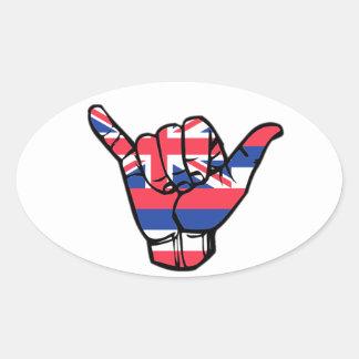 Adesivo Oval Bandeira de Shaka Havaí
