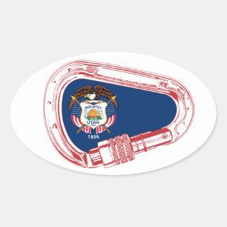 Adesivo Oval Bandeira de Utá que escala Carabiner