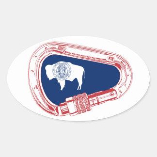 Adesivo Oval Bandeira de Wyoming que escala Carabiner