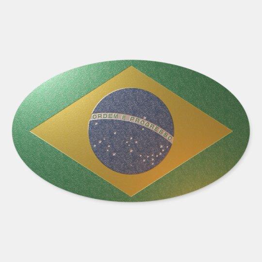 Adesivo Oval Bandeira do Brasil Metalizada