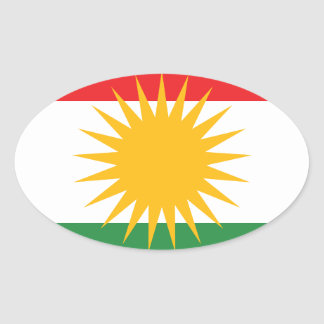 Adesivo Oval Bandeira do Curdistão; Curdo; Curdo