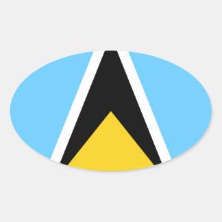 Adesivo Oval Bandeira do santo Lucia