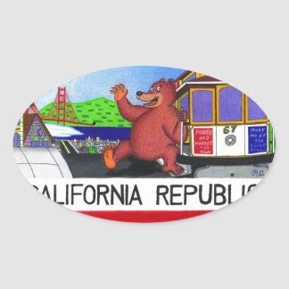 Adesivo Oval Bandeira do urso de San Francisco Califórnia