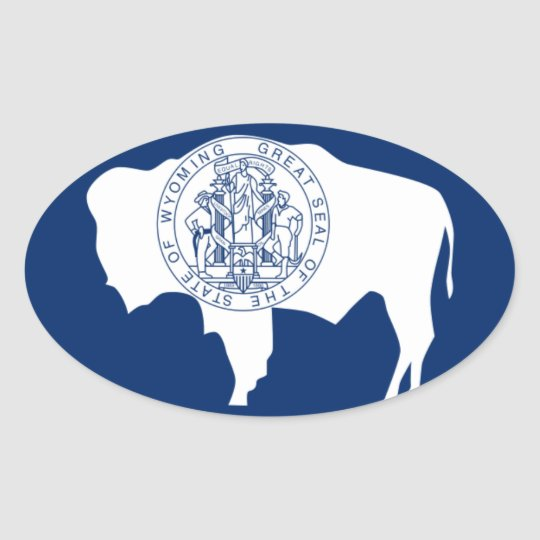 Adesivo Oval Bandeira do Wyoming