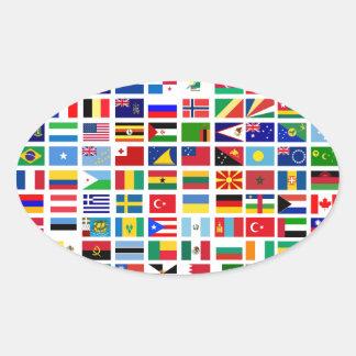 Adesivo Oval bandeiras do mundo contra o branco