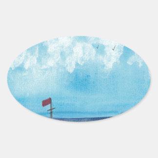 Adesivo Oval Barco de pesca