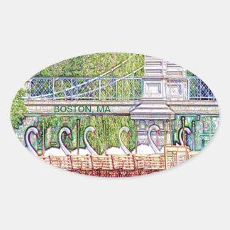 Adesivo Oval Barcos da cisne de Boston no filtro do lápis e da