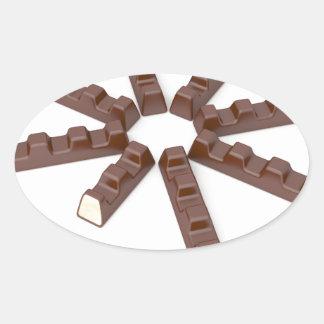 Adesivo Oval Bares de chocolate do leite