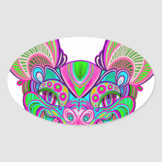 Adesivo Oval Bastão psicadélico do arco-íris