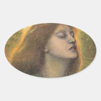 Adesivo Oval BEATA Beatrix, por Dante Gabriel Rossetti