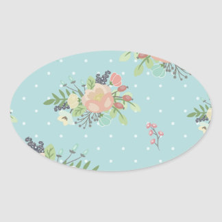 Adesivo Oval Beauty seamless floral pattern