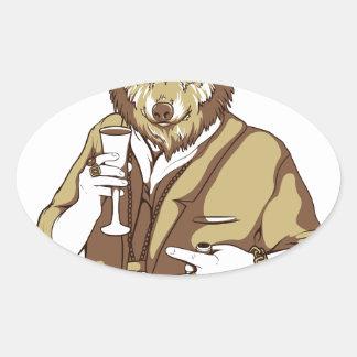 Adesivo Oval bebendo ligado humano do cão