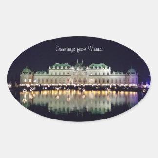 Adesivo Oval Belvedere bonito de Viena em dezembro