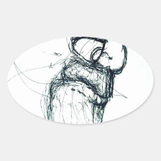 Adesivo Oval berço dos gatos do Lao-tzu'; s