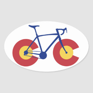 Adesivo Oval Bicicleta da bandeira de Colorado