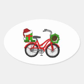 Adesivo Oval bicicleta do xmas