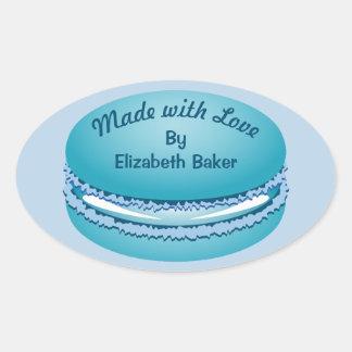 Adesivo Oval Biscoito azul de Macaron do pop art personalizado
