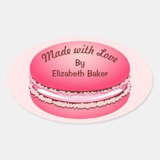 Adesivo Oval Biscoito cor-de-rosa de Macaron do pop art