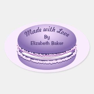 Adesivo Oval Biscoito roxo de Macaron do pop art personalizado